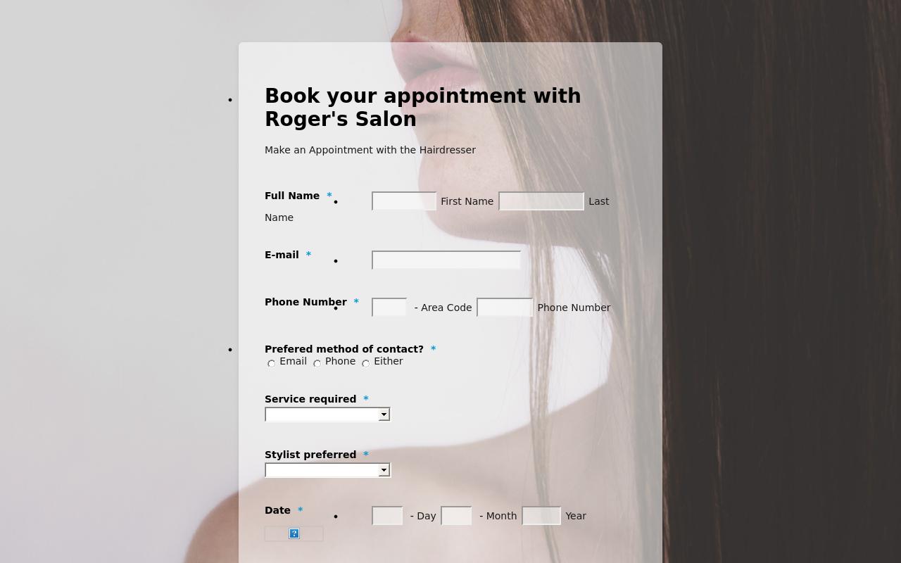 hair salon appointment form theme jotform