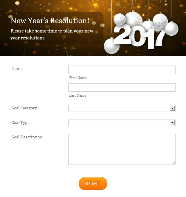 new years resolution form theme