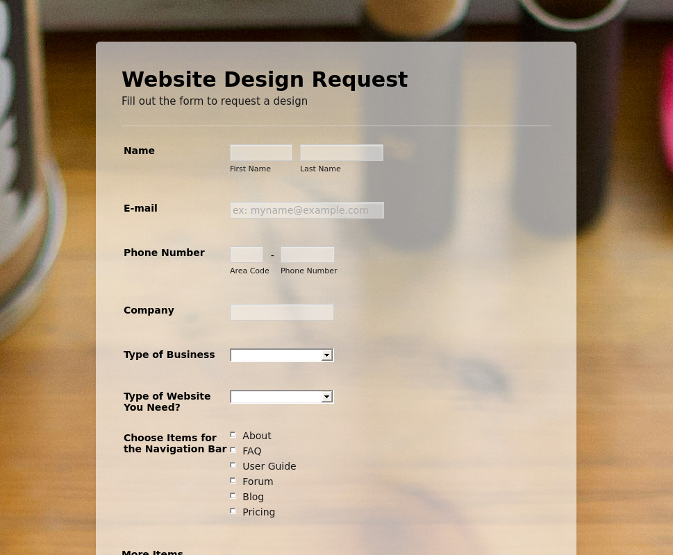 Web Design Request Form - Form Theme Store